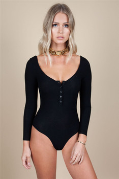 Women Long Sleeve O-neck Buttons Bodycon Slim Jumpsuit Bodysuit Stretch Solid Sexy Solid Knitted Cotton Jumpsuit Leotard Top New 1