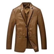 Loldeal Для Мужчин's Искусственная Кожа Куртка Блейзер костюм Slim Fit Пальто Бизнес двойной Куртка с воротником Босоножки из искусственной pu кожи куртка Тренч