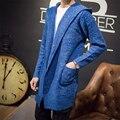 Moda Com Capuz Homens Sweatercoat 2016 roupas de Marca Hombre Cabido Clássico Tricô Cardigan homem Tendência Camisola Ocasional M-XXL