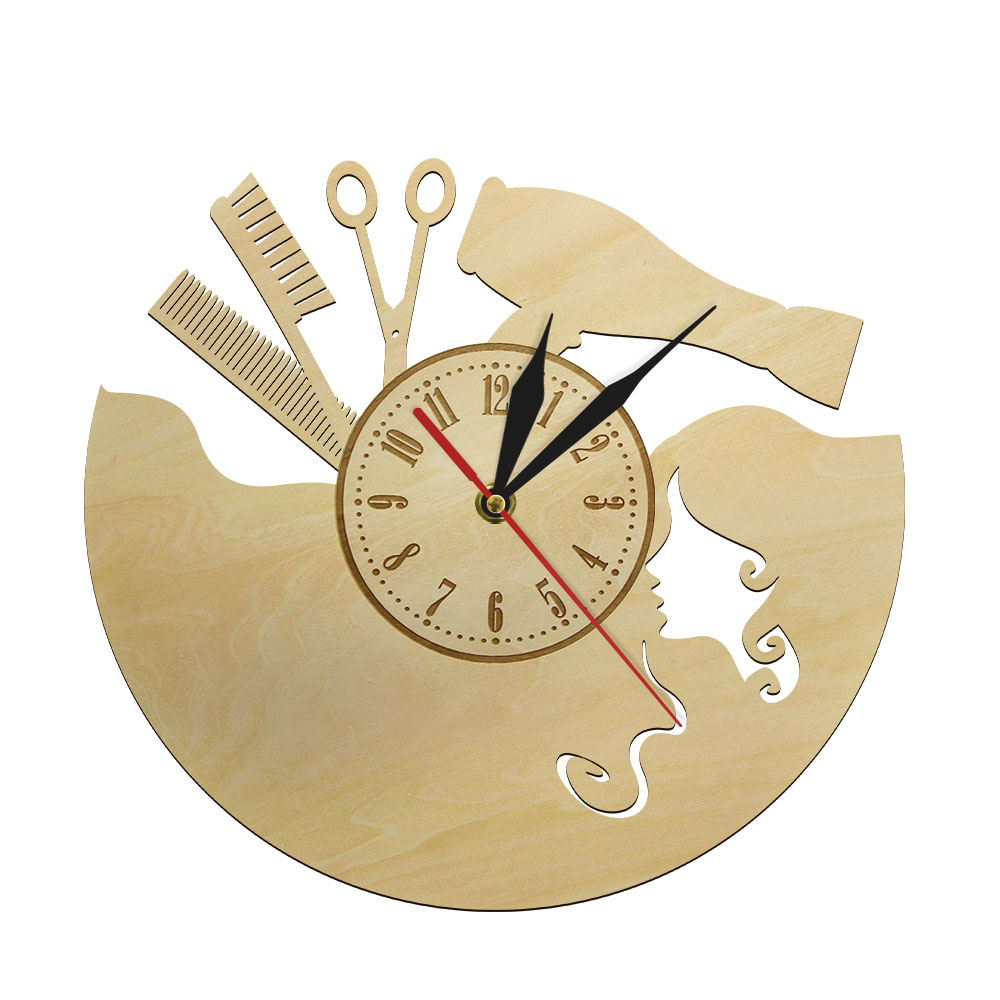 12 Inch Custom Barber Shop Hairdresser Large Silent Wall Clock Watch Wood European Style Hanging Klok Beauty Salon Dial Vision
