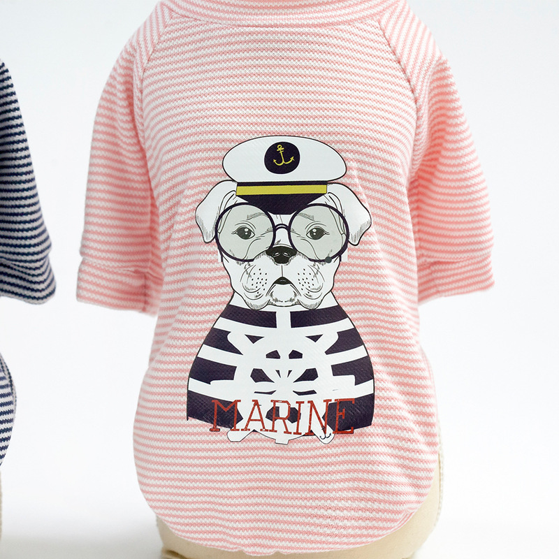 100 Cotton Pet Small Dog Coat Summer Waistcoat Clothing Fashion Pets Striped Printed Cat Clothes Breathable Bulldog Dog Jacket in Dog Coats Jackets from Home Garden