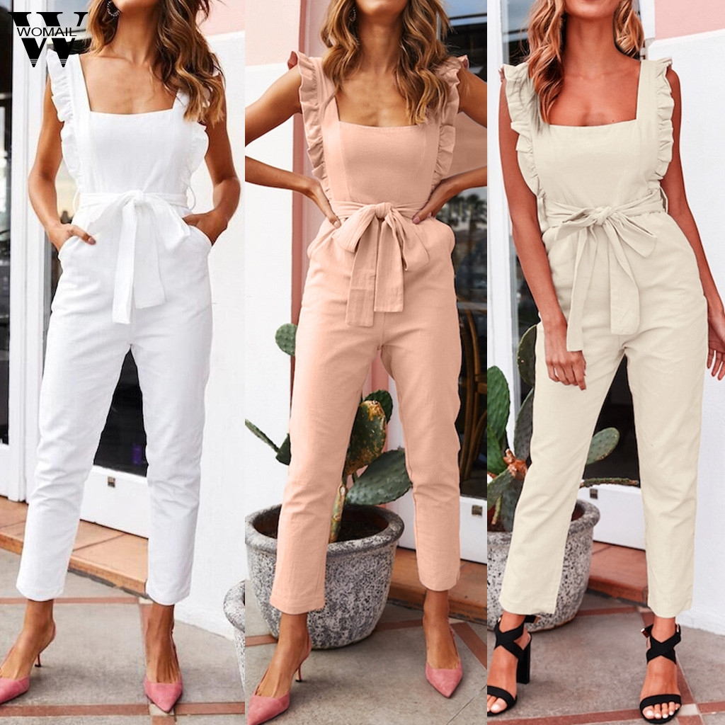 Womail bodysuit Women fashion Summer Safari Style Solid Sleeveless Long   Jumpsuit   with Pockets Loose   Jumpsuit   Casual 2019 M529