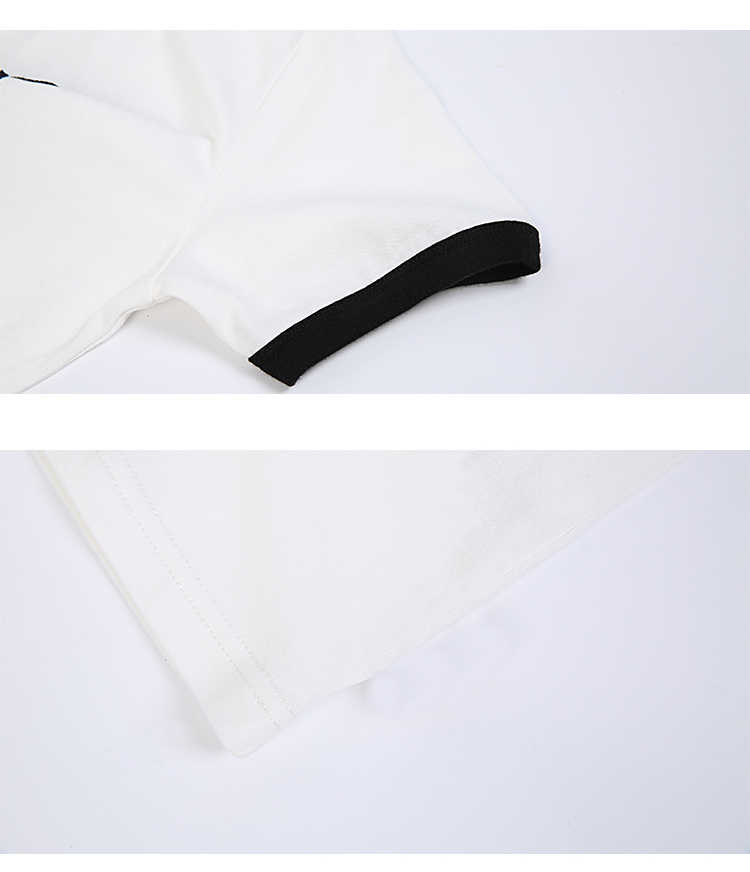 Kadın yazlık t-shirt Harajuku Beyaz Siyah Kısa Kollu Zımba Nakış Rahat Tee Üstleri Tatlı Kadın Beyaz Pamuklu T Shirt