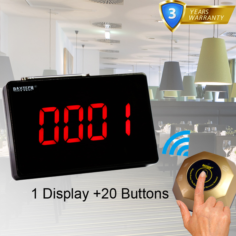 DAYTECH Calling System Restaurant Pager Waiter Service Call Button Guest Pagering System 1 Display and 20 Call Buzzers wireless waiter service pager call system for restaurant equipment with 1pcs display receiver