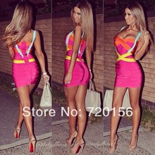 Newest Style hot pink red and blue color strap v neck blocked cross over bandage dresses Women Party Formal cocktail Women Dress