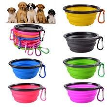 Cão tigela dobrável eco firendly silicone pet gato comida para cães alimentador de água viagem portátil tigelas de alimentação filhote cachorro cachorro recipiente de alimentos