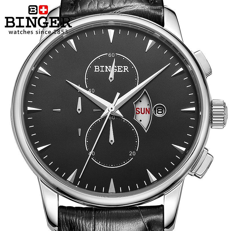 bc0aa3e557f ⊰Relógio dos homens de luxo da marca suíça BINGER 18 K ouro relógio ...
