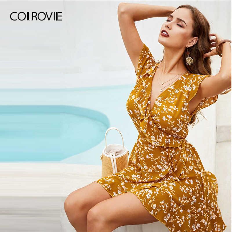 COLROVIE Ginger, v-образный вырез, цветочный принт, оборки, отделка, платье бохо, женская одежда, 2019, летние корейские праздничные женские платья