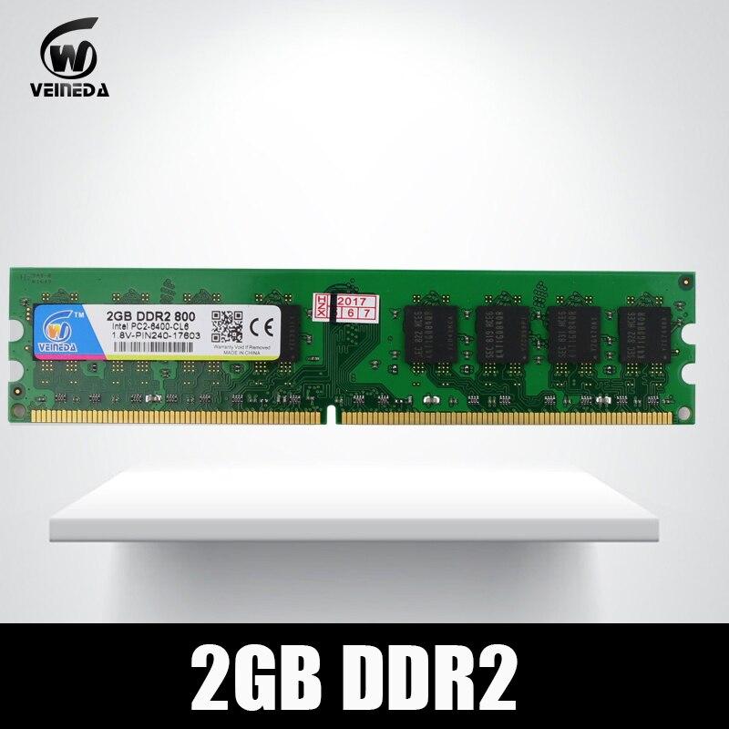 VEINEDA Ram ddr2 2 GB para Intel AMD Compatible memoria ddr 2 GB 800 667 533