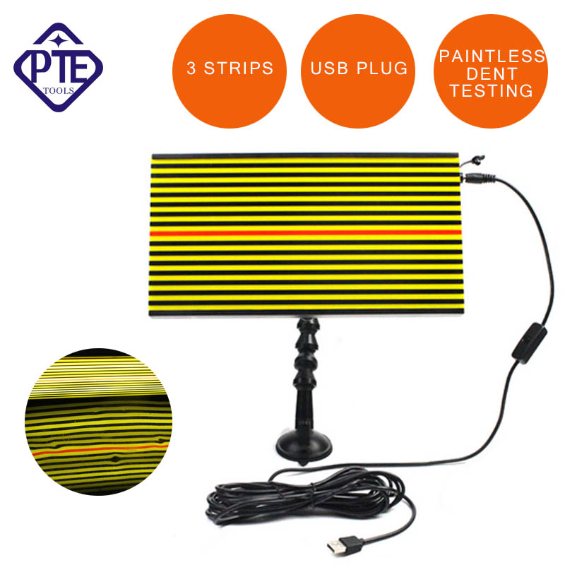 PDR Tools Newly USB Plug  LED Light Paintless Dent Repair Hail Removal 3 Strips Auto Body Lamp pdr tools dent removal car dent repair led lamp reflector board led light reflection board with adjustable holder