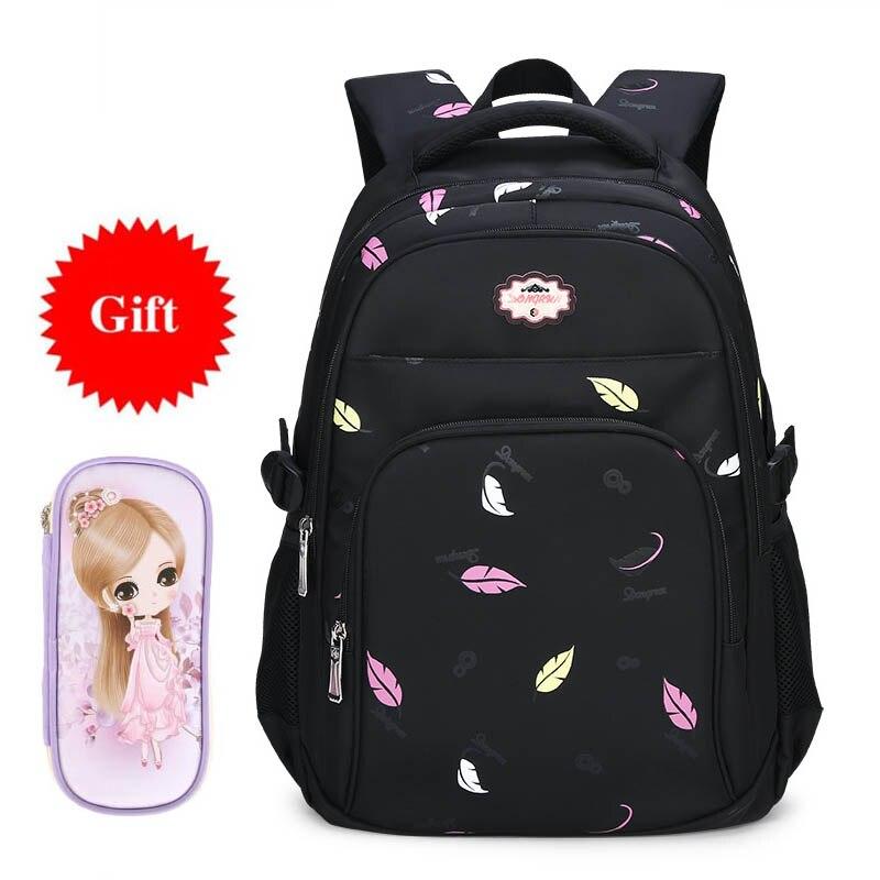 Waterproof Nylon School Bags for Girls Children Primay School Backpack Fashion Leaf Printing Kids Book Bag for Girls Students