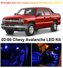 Free Shipping 12Pcs/Lot Blue Premium Package Kit LED Interior Lights For Chevrolet Avalanche 2002-2006
