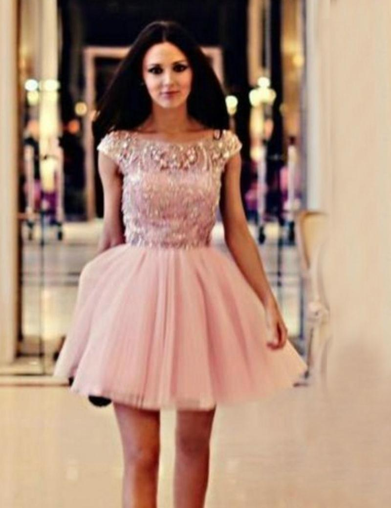 Cap Sleeve Pink Homecoming Dresses 2015 Short Graduation Dresses ...