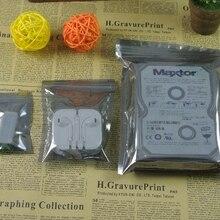 100 шт./лот, Антистатическая Алюминиевая сумка для хранения с застежкой-молнией, герметичная Антистатическая сумка для электронных аксессуаров, посылка, сумки