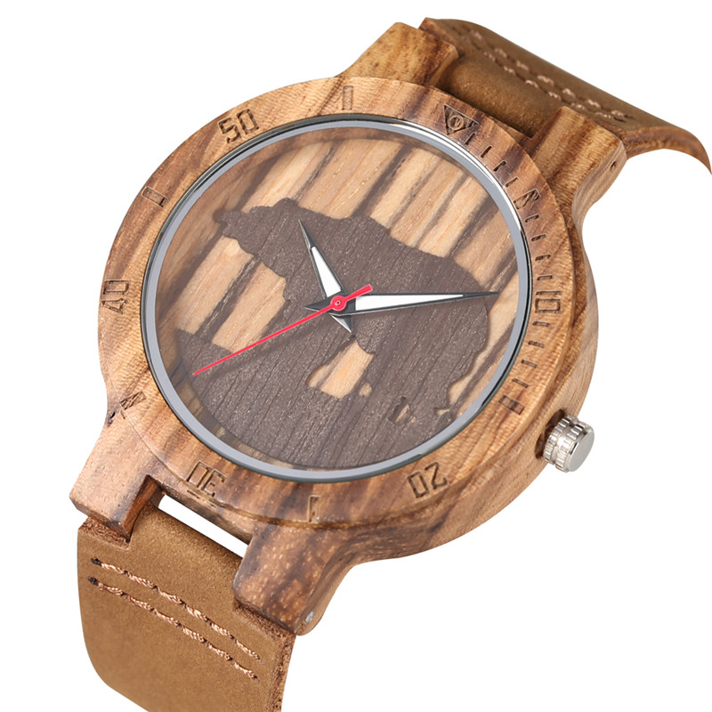 Classic Quartz Watch Movement For Women Men Practical Luminous Function Wooden Watches Unique Polar Bear Pattern Wood Wristwatch