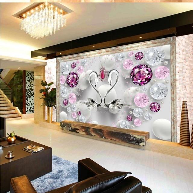 Individuelle fototapeten 3d wallpaper kristall liebe diamant swan malerei wohnzimmer tv wand - Quadratmeter wand berechnen ...