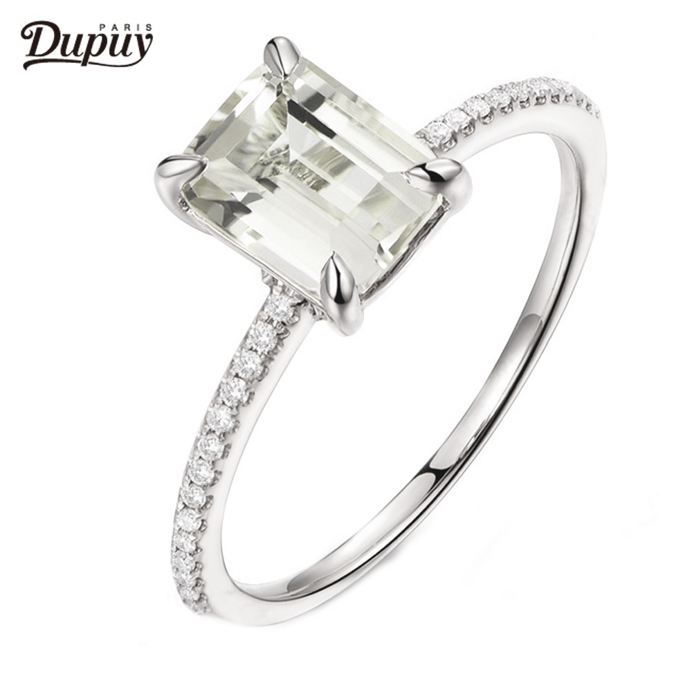 DUPUY Hot Sale VS 6*8mm Emerald Cut White Topaz Engagement Ring Solitaire Stackable Gemstone Ring 14K White Gold Bridal Ring new pure au750 rose gold love ring lucky cute letter ring 1 13 1 23g hot sale