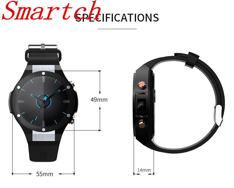 Smartch New H2 Smart Watch MTK6580 IP68 Waterproof 1.40 inch 400*400 GPS Wifi 3G Heart Rate Monitor 16GB+1G For Android IOS