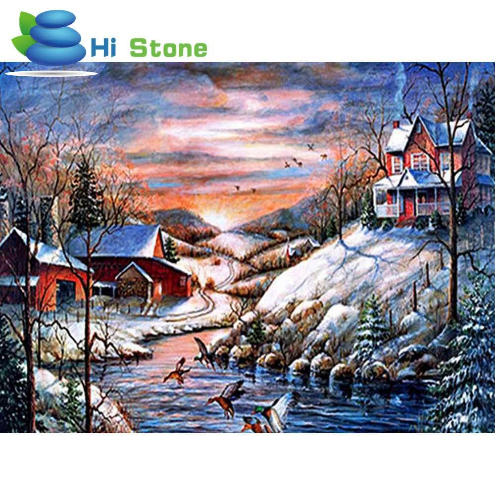 Алмазная мозаика снег деревня 5D поделки алмазов картина вышивка крестиком полный квадратный алмаз вышивка украшение дома подарок