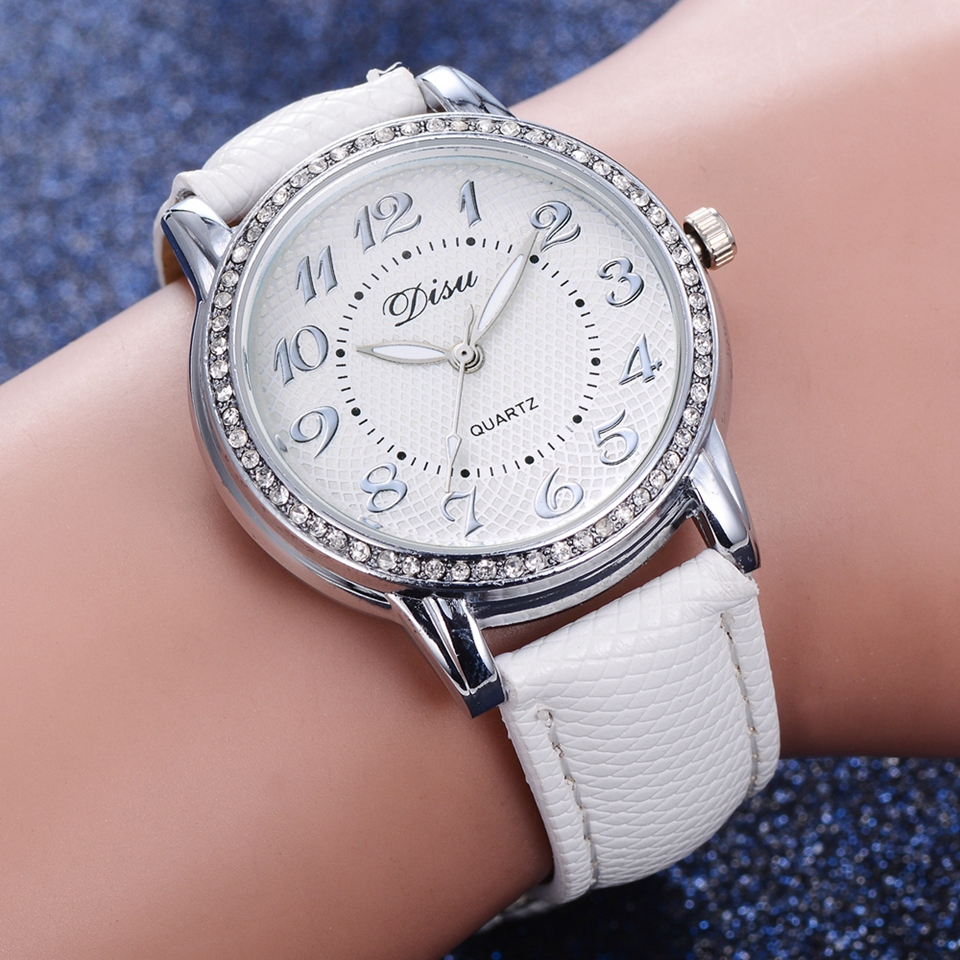 Disu Brand Women Wrist Watch Fashion Silver Crystal Dress Bracelet White Clock Gift Watch Luxury Ladies Sport Creative Watches