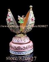 Vintage Angel Egg Shaped Music Box Faberge Style Egg Music Box Pewter Figurine Musical Egg Jewelry