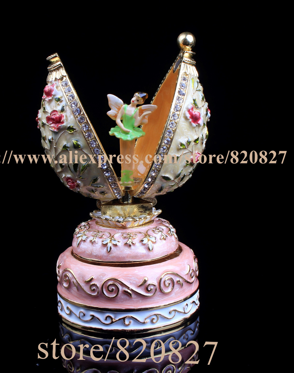 Vintage Angel Egg-Shaped Music Box Faberge Style Egg Pewter Figurine, Musical Jewelry with Dance inside