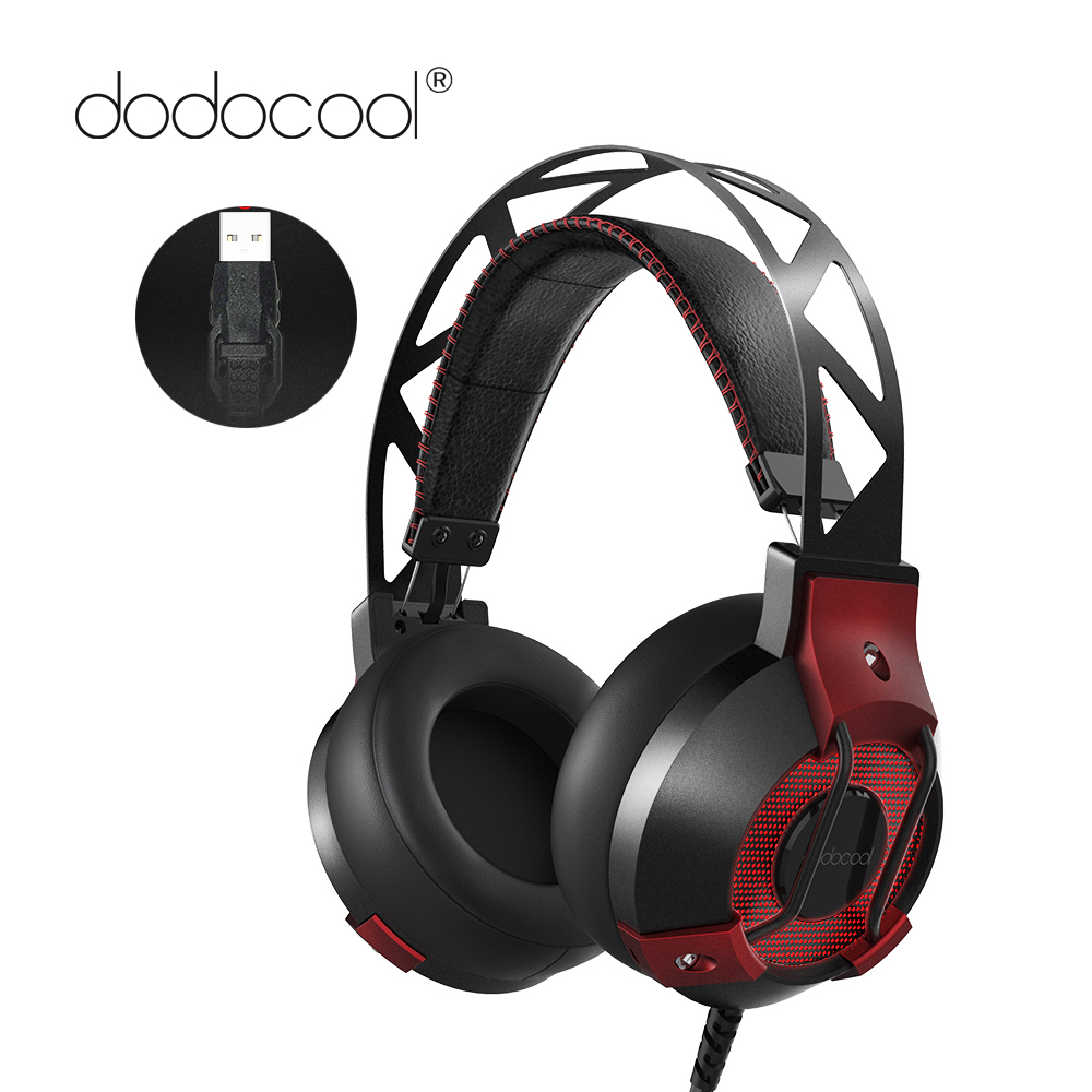 dodocool Gaming Headphones 7.1 Surround Sound Stereo USB Game Gaming Headset with Microphone Breathing LED Lights for PC Gamer