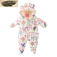 0 12 Months 2017 Winter Children Baby Warm Jumpsuit Plus Velvet Thick Cotton Coat Boy Girl