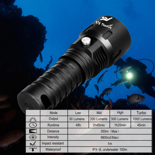 ThorFire Diving light torch Powerful LED Flashlight Professional Submarine Light Underwater 100M Waterproof Searchlight 18650 powerful underwater flashlight led scuba diving lanterna xml l2 waterproof led torch dive light 18650 26650 rechargeable battery