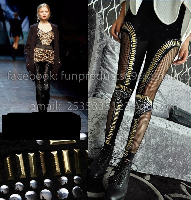 Women Fishnet Bling Bead-embellished Bullet Paneled Tight Pants Punk knee rivet spike sequin shiny mesh patch Leggings tights