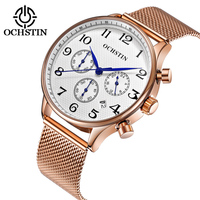Men Watch OCHSTIN Wrist Watch Chronograph Watch Men Luxury Rose Gold Mesh Stainless Steel Wristwatch Military