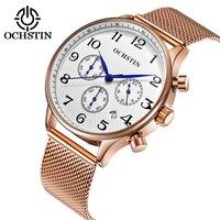 Men Watch OCHSTIN Wrist Watch Chronograph Watch Men Luxury Rose Gold Mesh Stainless Steel Wristwatch Military Slim Quartz Watch