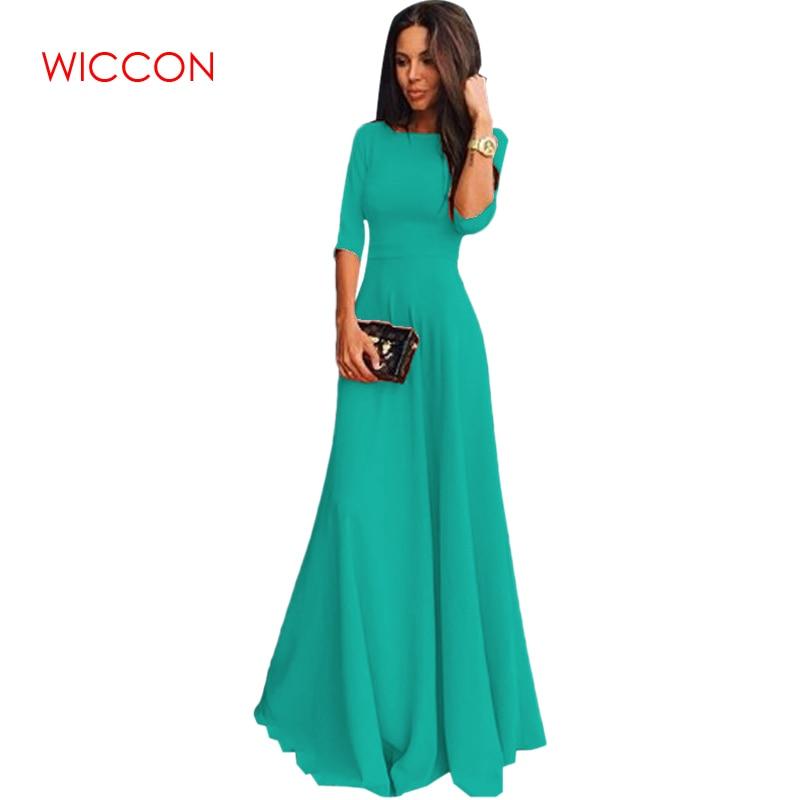 New Fashion Hot Dress Women Vintage Three Quarter Sleeve Long Floor Length Vestidos Ladies Evening Party Dress Candy Color Dress