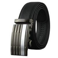 Men's Genuine Leather Belt Cowboy Wide Waist Pants Straps Automatic Buckle Black Summer Dressses Women's Long Belts for Jeans