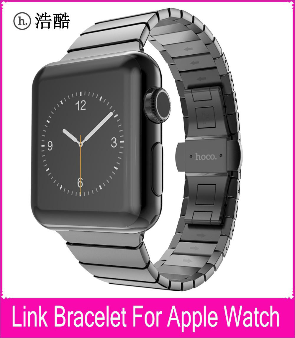 TOP Quality Link Bracelet Strap For Apple Watch Series 2 And 1 42mm Black Silver Stainless