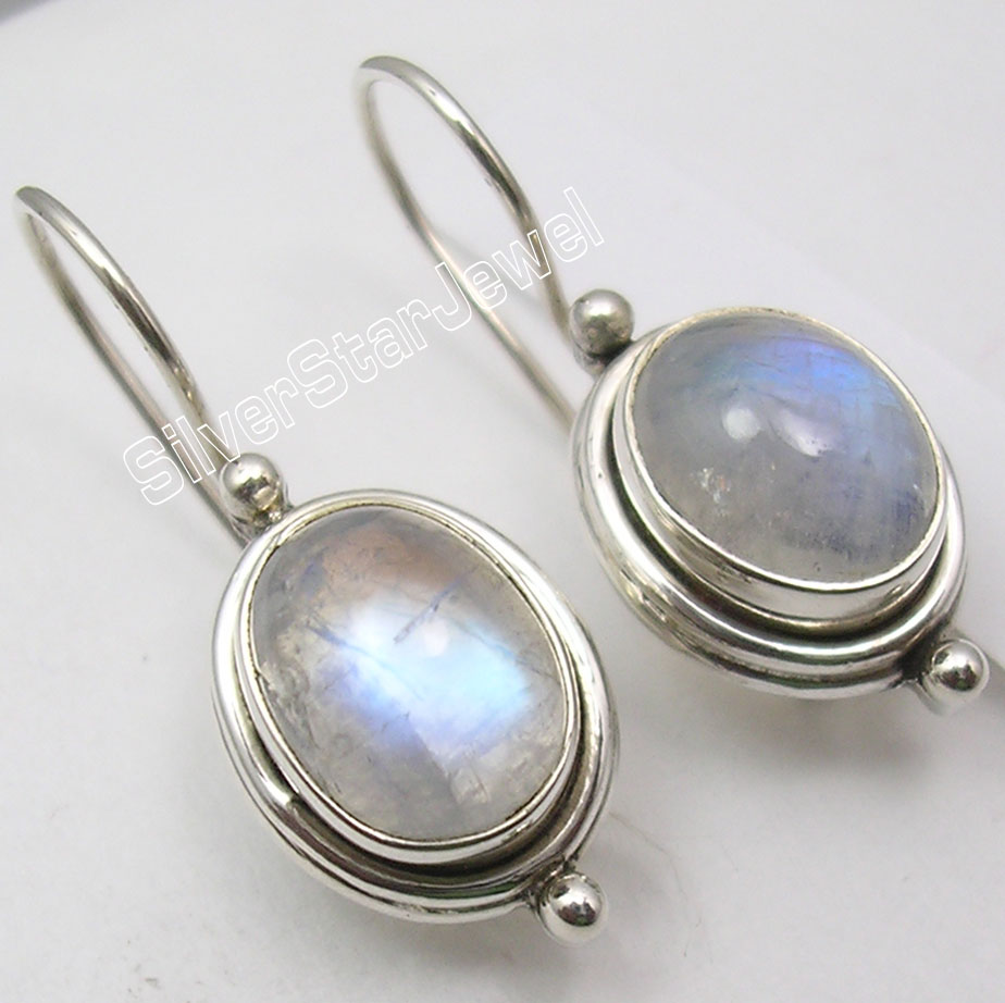Chanti International Silver BLUE FIRE RAINBOW MOONSTONE Beautiful Earrings 2.5CM NEW