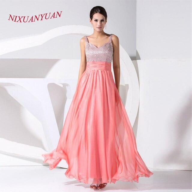 NIXUANYUAN Watermelon Chiffon Prom Dress 2017 Long Sweetheart A Line ...