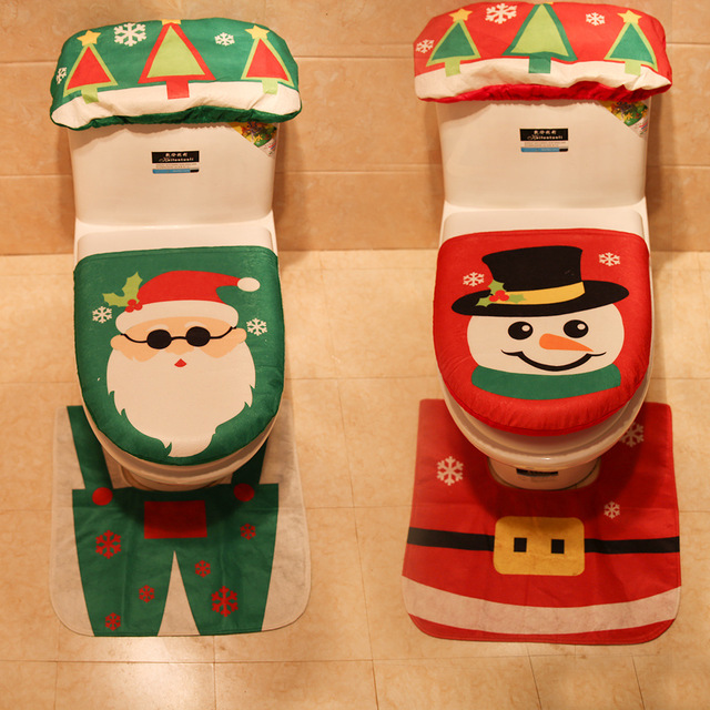 Creative Santa Claus Snowman Three-piece Toilet Lid Rug Water Tank Cover for Christmas Home Bathroom Decorations AF056