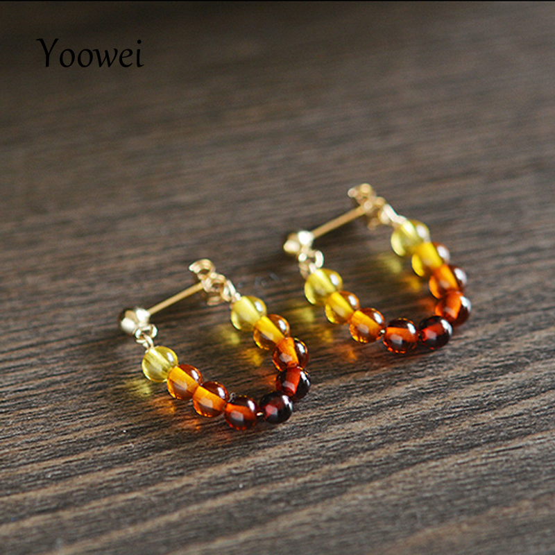 Yoowei Natural Amber Earrings for Women Unique U Design Jewelry Trendy Original Classical Tiny Baltic Amber
