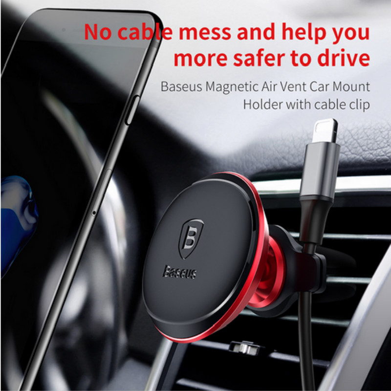 Baseus Cable Clip Car Phone Holder For IPhone 8 7 6 6s Plus 360 Degree Magnet Air Vent Mount Magnetic Mobile Phone Holder Stand