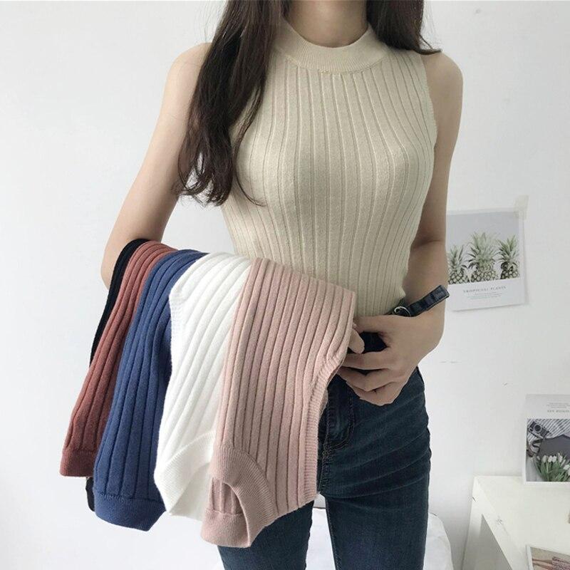 2019 Summer Knitted   Tank     Top   Women Camis Sleeveless Spring Turtleneck Sweater White Black Blue Halter   Tops   women