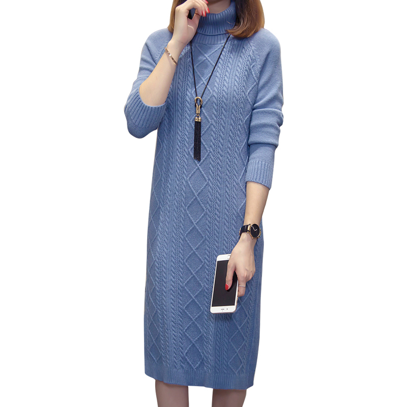 Maternity Knitted Nursing Dress Breastfeeding Clothes for Pregnant Women High Neck Split Fashion Long Sweater Pregnancy Dresses