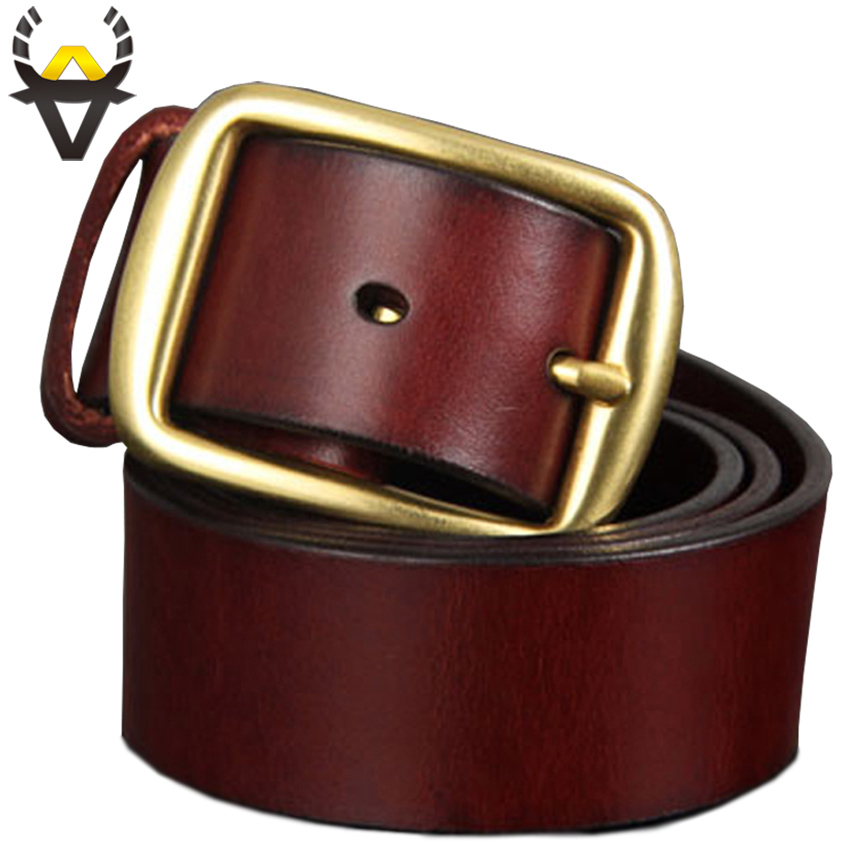 Top quality Genuine leather   belts   for men 100% Copper Pin buckle 100% First Layer CowSkin   belt   for man Luxury waistband male