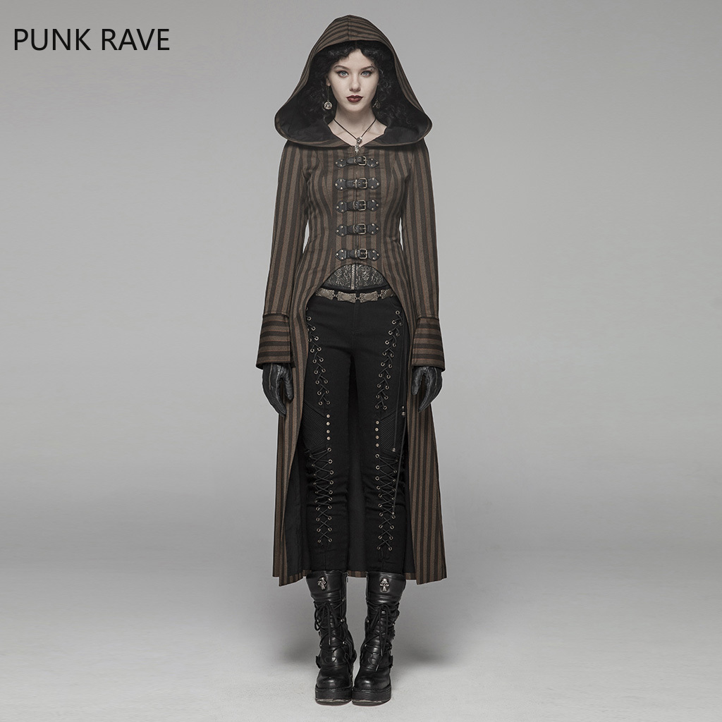 PUNK RAVE Women Steampunk Retro Long Coat Coffee Striped Lace Up Punk Rock Coat Stage Performance Women Gothic Trench Coat