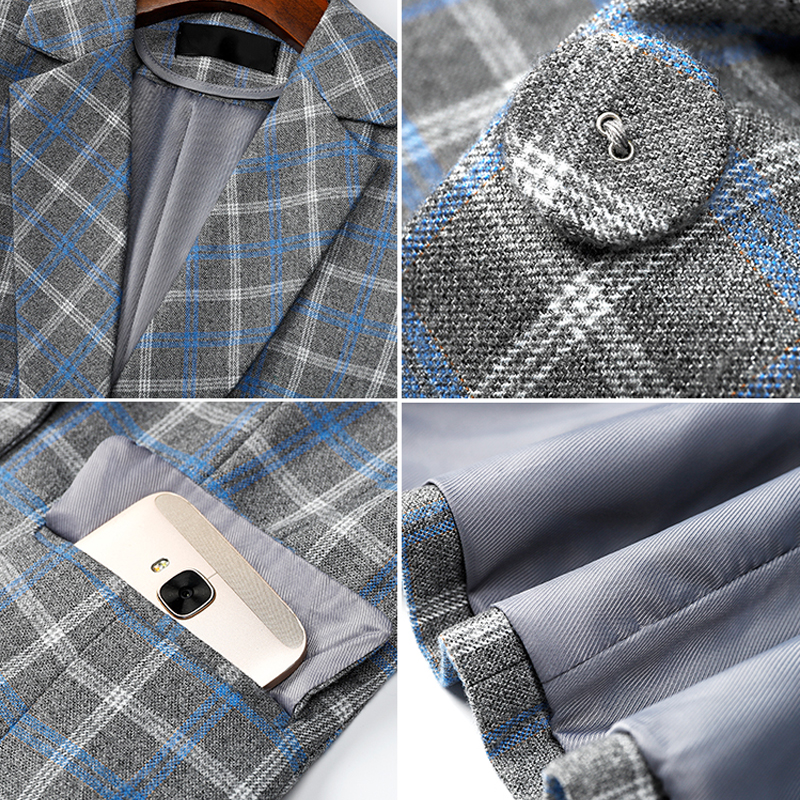High-quality Plaid Jacket with Pocket Office Lady Casual  1