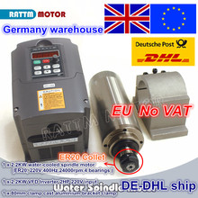 цена на From UK 2.2KW 220V Water-cooled spindle motor 4 bearing / ER20/ 24000rpm/& 2.2kw Inverter VFD 2HP 220V & 80mm Fixing spindle
