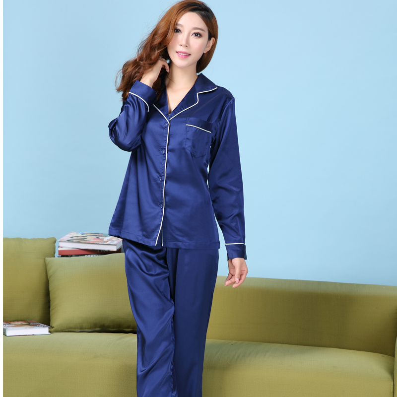 bb443f9e2b65 Womens Silk Satin Pajamas Set Satin Pajama Pyjamas Set Long Sleeve  Sleepwear Loungewear XS