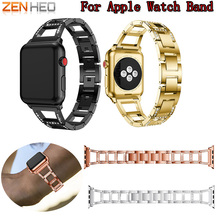 Stainless Steel Metal Replacement Bracelet Wrist Band for Apple Watch Series 3 2 1 Smart Watch Luxury Rhinestone watch band 2018 цена и фото