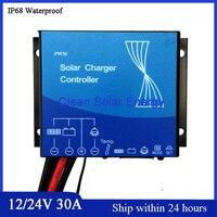 New 12V 24V Automatic ID PWM Mode 30A Soalr Charge Controller Soalr Panel Regulator 30A IP68