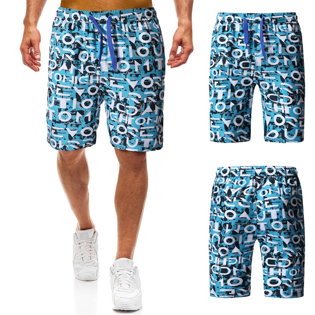 2019 Men's Summer Camouflage Letter Print Trunk Quick-drying Beach Surf Running Shorts 7.12(China)